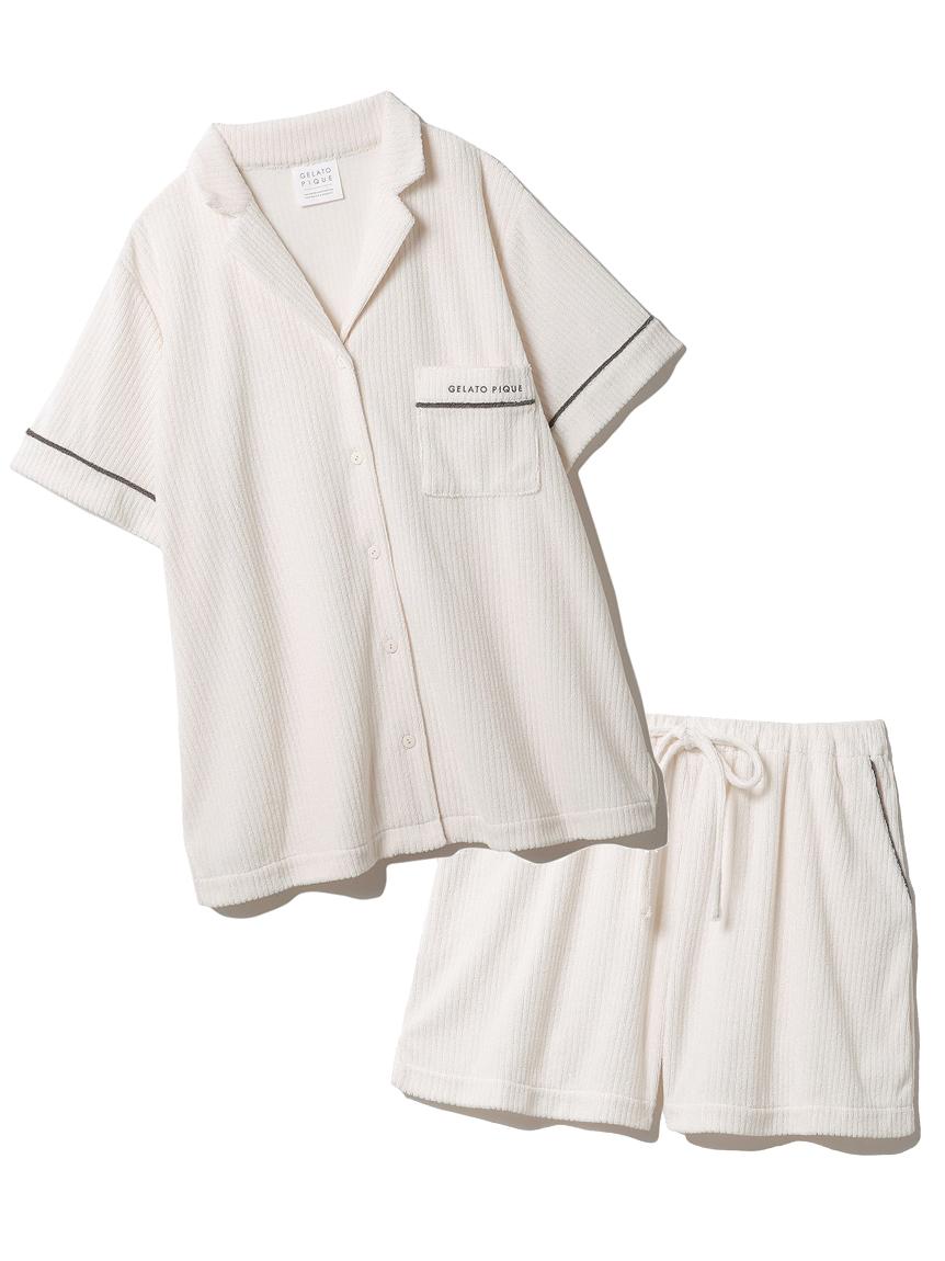 【ラッピング】パイルリブ半袖シャツ&ショートパンツSET(IVR-F)