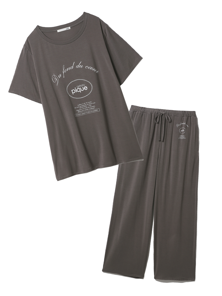 【ラッピング】ピケロゴワンポイントTシャツ&ロングパンツSET(GRY-F)