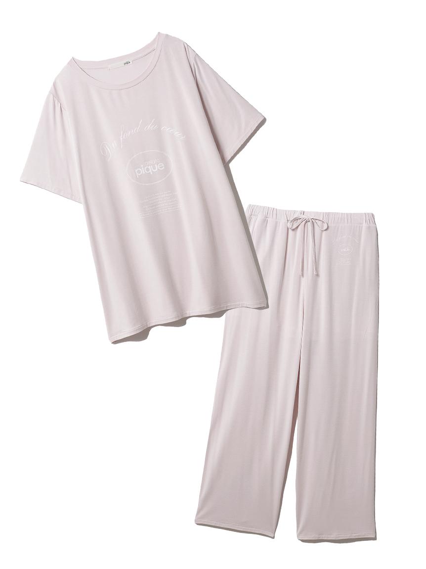 【ラッピング】ピケロゴワンポイントTシャツ&ロングパンツSET(PNK-F)