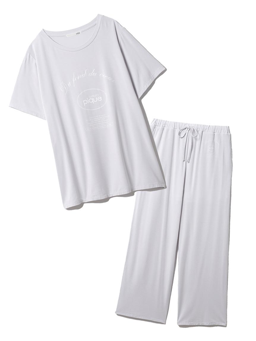 【ラッピング】ピケロゴワンポイントTシャツ&ロングパンツSET(BLU-F)