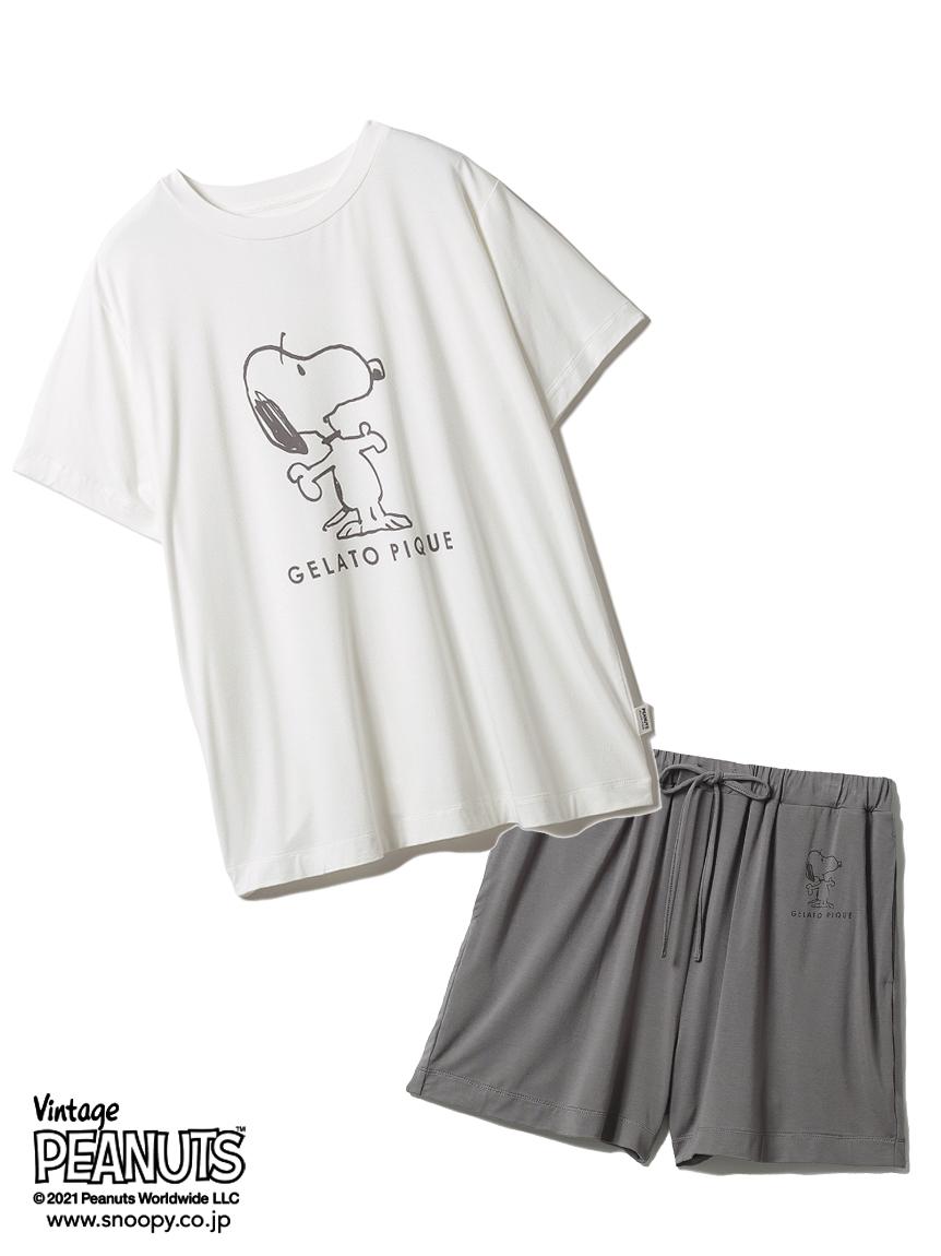 【ラッピング】【PEANUTS】プリントTシャツ&ショートパンツSET(OWHT-F)