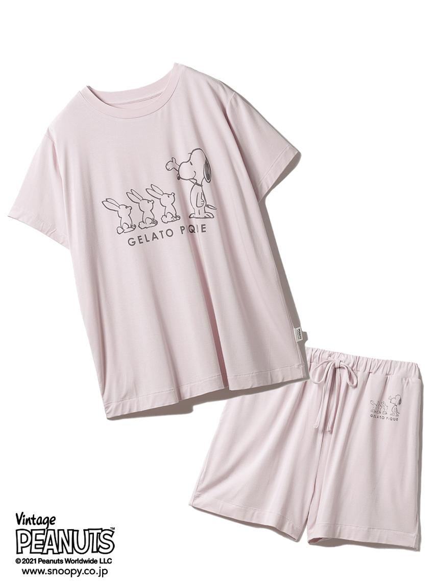 【ラッピング】【PEANUTS】プリントTシャツ&ショートパンツSET(PNK-F)