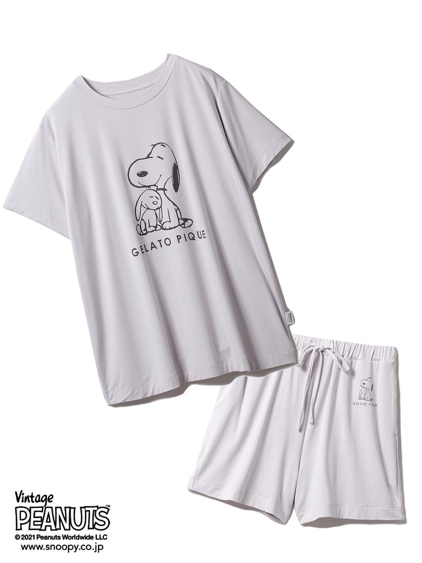 【ラッピング】【PEANUTS】プリントTシャツ&ショートパンツSET(LAV-F)
