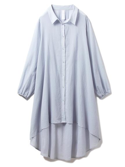 コットンシフォンシャツドレス(BLU-F)