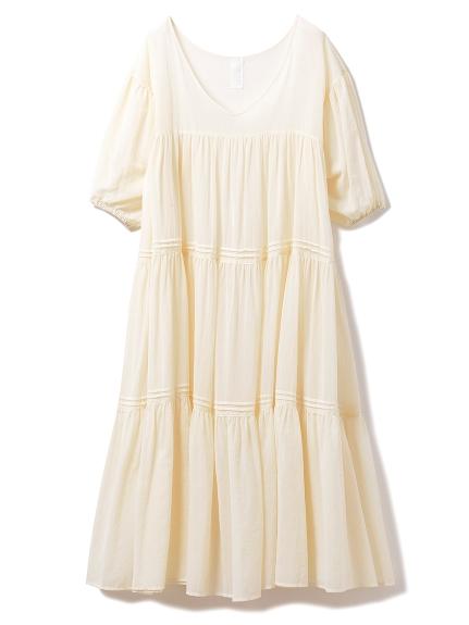 コットンシフォンギャザードレス(OWHT-F)