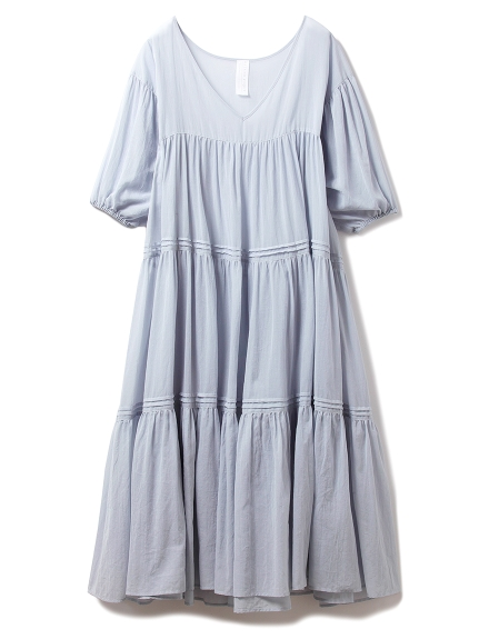 コットンシフォンギャザードレス