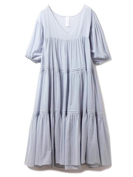コットンシフォンギャザードレス(BLU-F)
