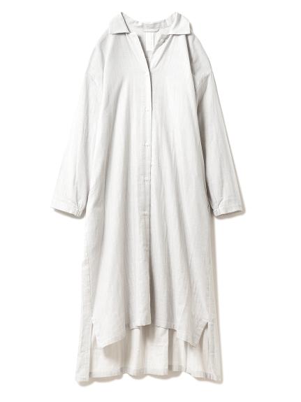 温泉ガーゼストライプシャツドレス(GRY-F)