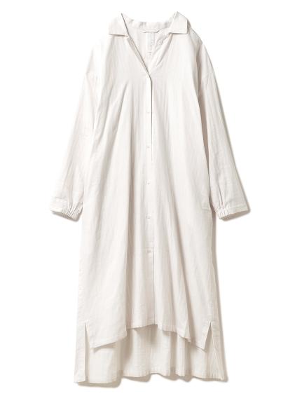 温泉ガーゼストライプシャツドレス