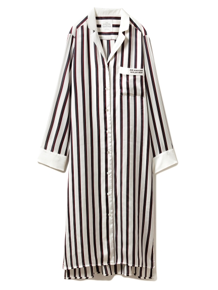 【Joel Robuchon & gelato pique】ストライプサテンシャツドレス