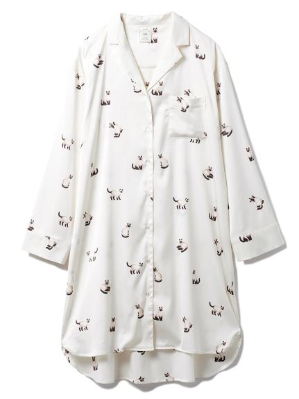 シャムネコサテンシャツドレス