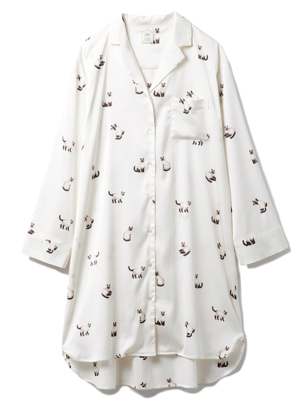 シャムネコサテンシャツドレス(OWHT-F)