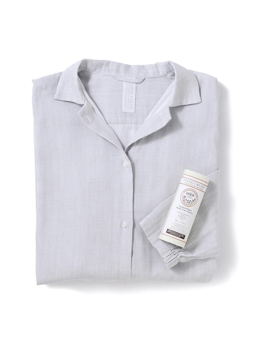 【ラッピング】温泉ガーゼストライプシャツドレス&ハンドクリーム(GRY-F)