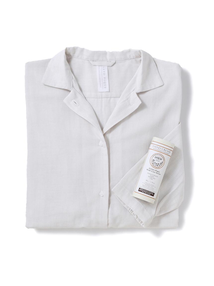 【ラッピング】温泉ガーゼストライプシャツドレス&ハンドクリーム(BEG-F)