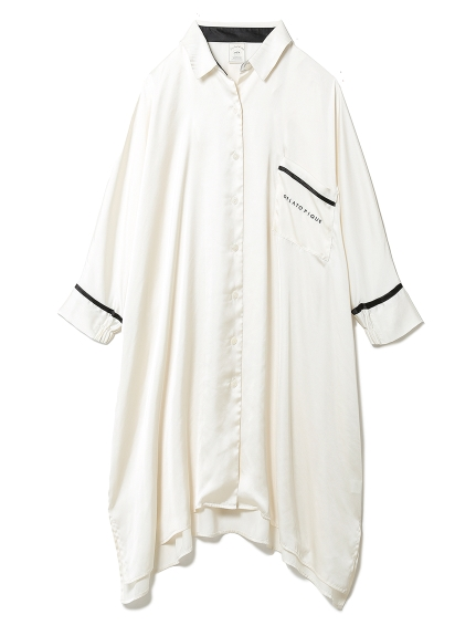 サテンラインシャツドレス(OWHT-F)