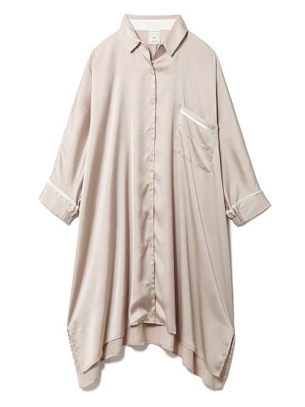 サテンラインシャツドレス(BEG-F)