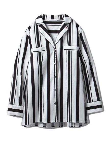 【Joel Robuchon & gelato pique】ストライプシャツ(BLK-F)