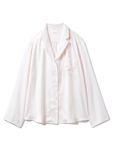 【SAKURA】フラワーサテンシャツ(PNK-F)