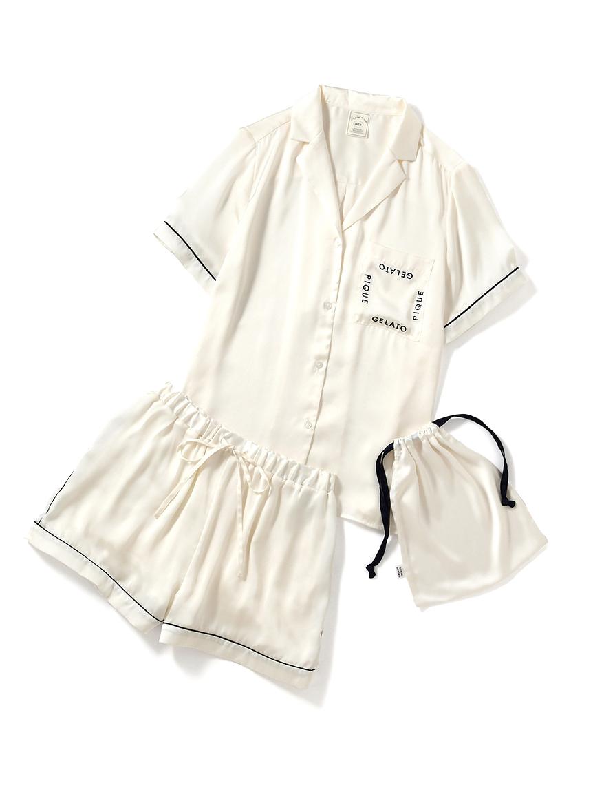 【オフィシャルオンラインストア限定】ロゴサテン半袖シャツ&ショートパンツ(OWHT-F)