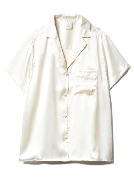 モチーフサテンシャツ