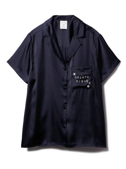 モチーフサテンシャツ(NVY-F)