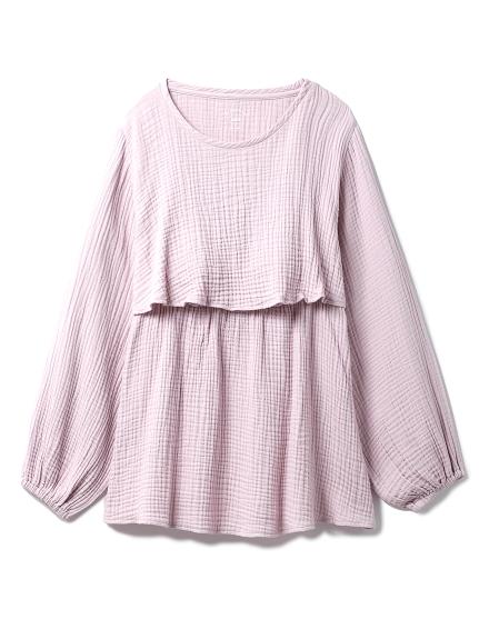 【ONLINE限定】トリプルガーゼマタニティ授乳プルオーバー(PNK-F)