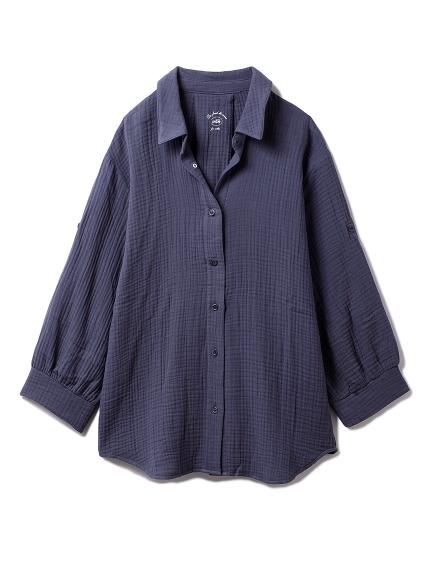 【ONLINE限定】トリプルガーゼマタニティシャツ(NVY-F)