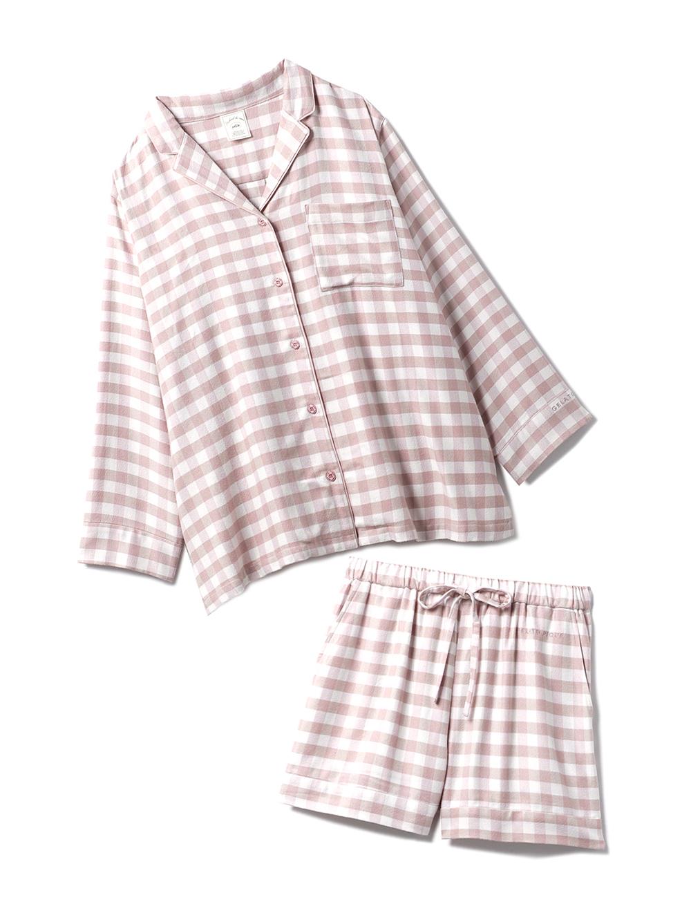 【ラッピング】ネルギンガムチェックシャツ&ショートパンツSET