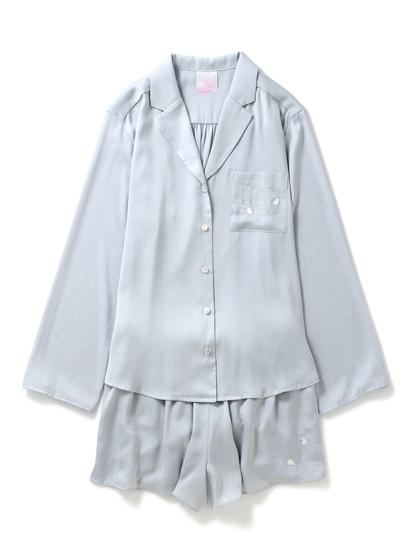 【ラッピング】フラワーサテンシャツ&ショートパンツ