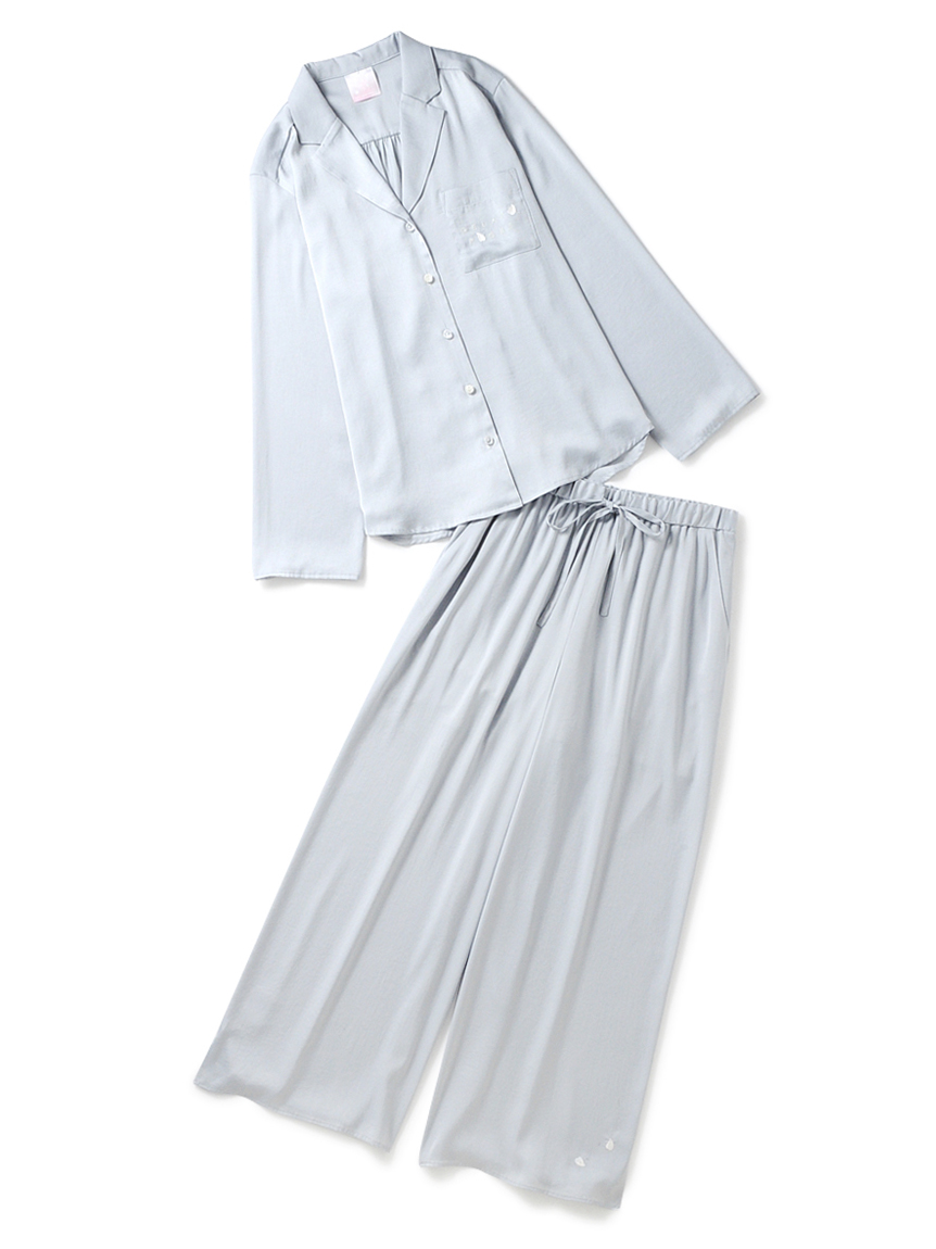 【ラッピング】フラワーサテンシャツ&ロングパンツ(MNT-F)