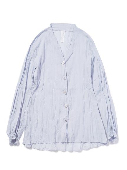 洗いざらしノーカラーシャツ