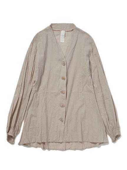洗いざらしノーカラーシャツ(BEG-F)