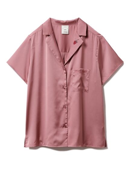 ストロベリー刺繍サテンシャツ