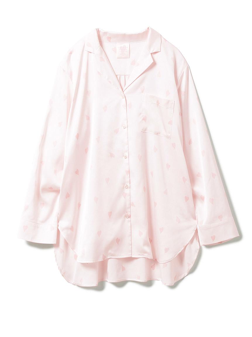 【SAKURA FAIR】ペタルモチーフサテンシャツ(LPNK-F)
