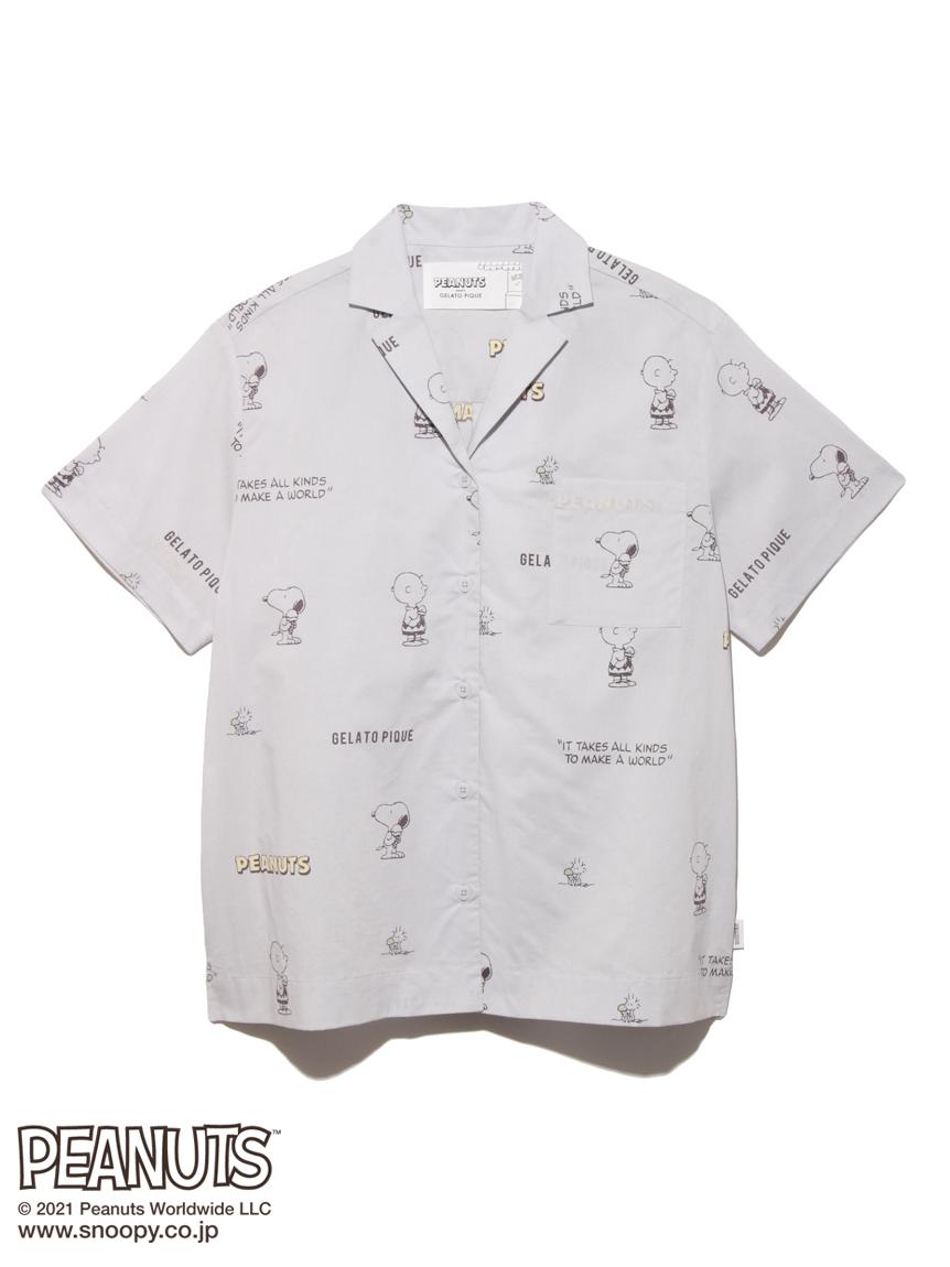 【PEANUTS】モノグラムシャツ(BLU-F)