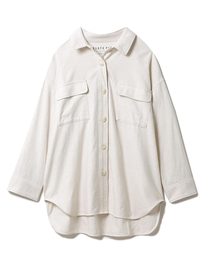 メランジコットンシャツ(OATMEAL-F)