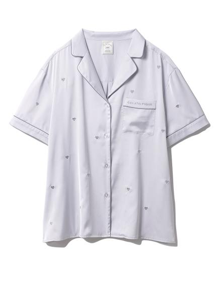 ハート刺繍半袖シャツ