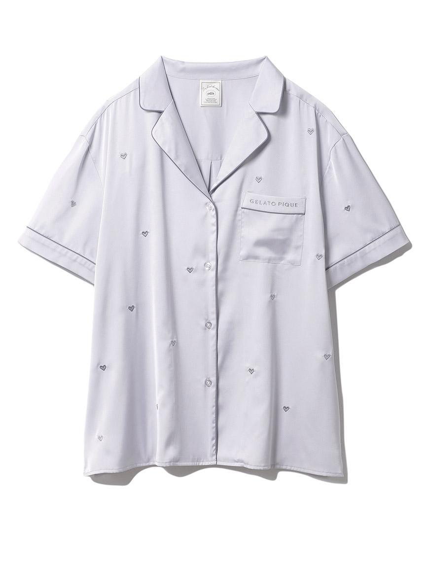 ハート刺繍半袖シャツ(LGRY-F)