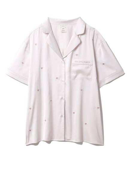ハート刺繍半袖シャツ(PNK-F)
