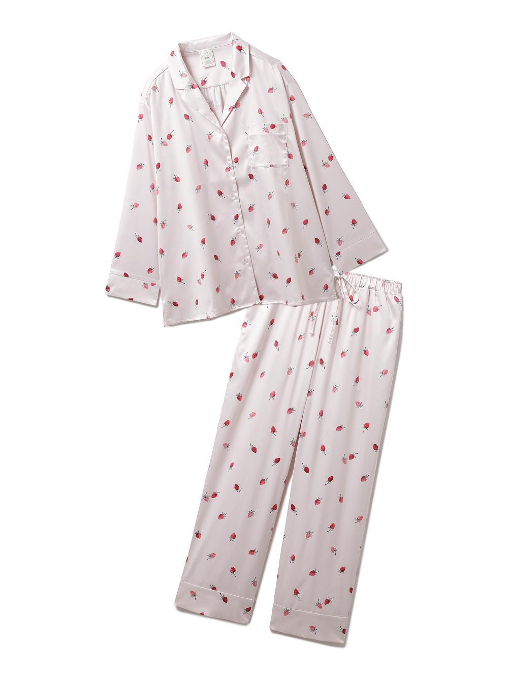 【ラッピング】ストロベリー柄サテンシャツ&ロングパンツSET
