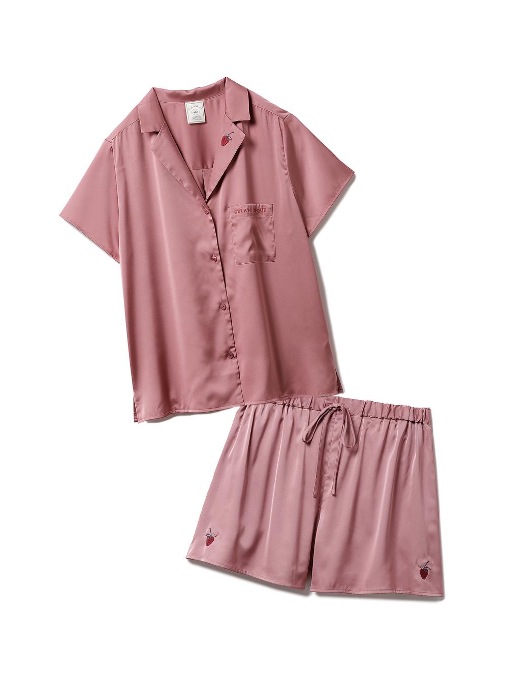 【ラッピング】ストロベリー刺繍サテンシャツ&ショートパンツSET