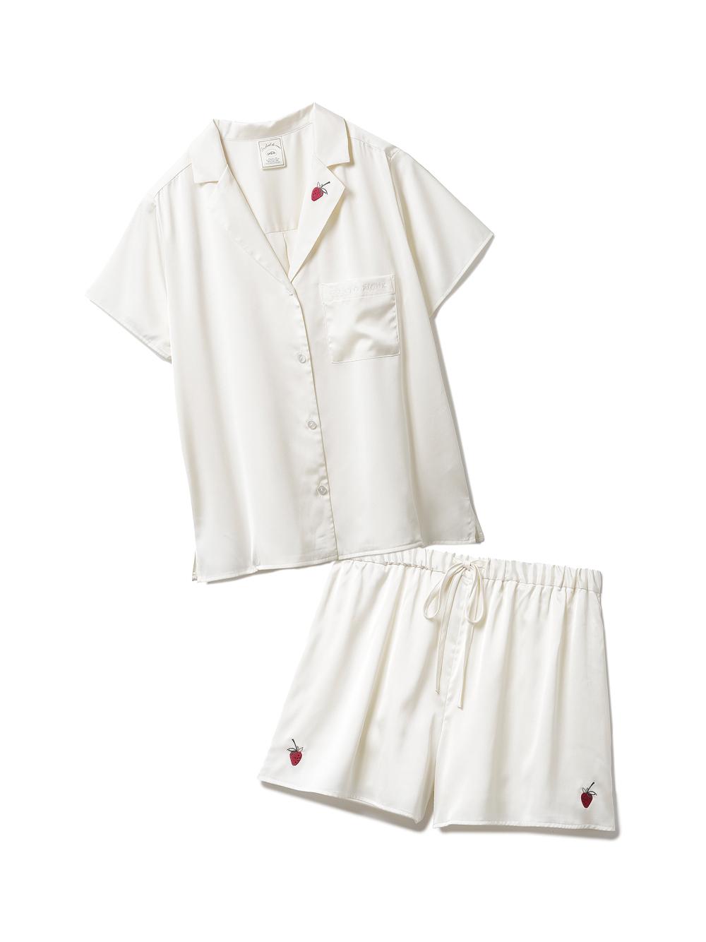 【ラッピング】ストロベリー刺繍サテンシャツ&ショートパンツSET(OWHT-F)
