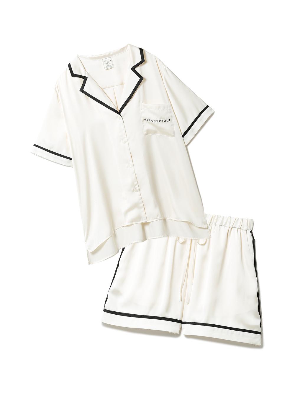 【ラッピング】サテンラインシャツ&ショートパンツSET(OWHT-F)
