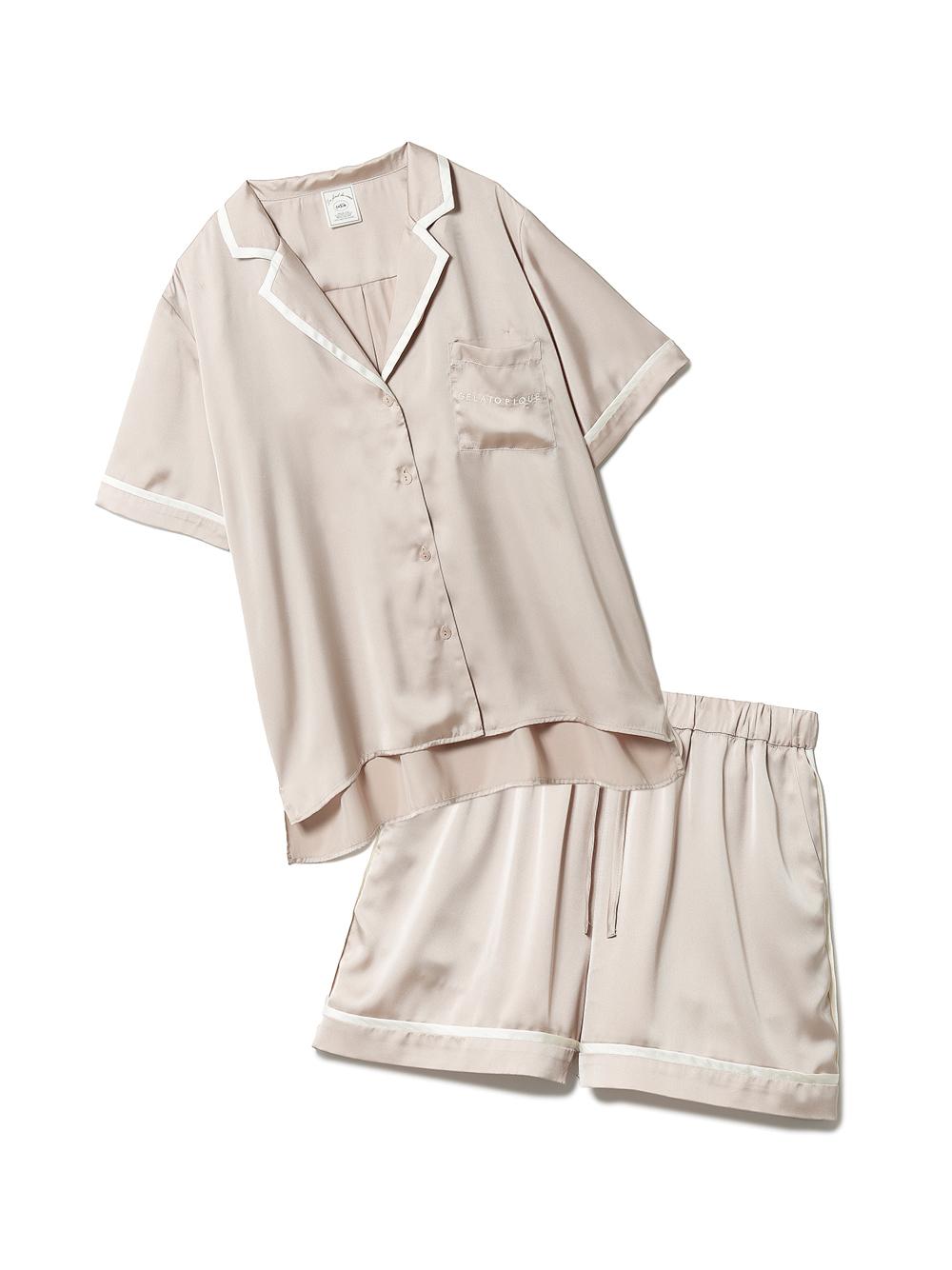 【ラッピング】サテンラインシャツ&ショートパンツSET(BEG-F)
