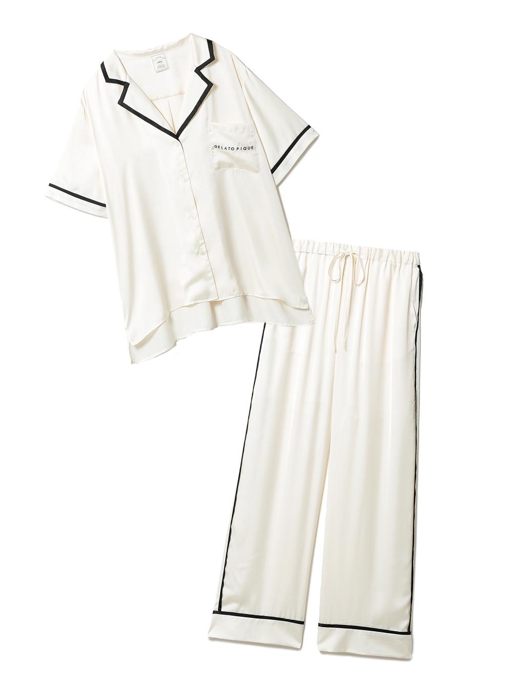 【ラッピング】サテンラインシャツ&ロングパンツSET(OWHT-F)