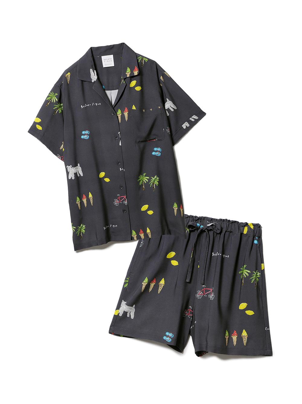 【ラッピング】サマーモチーフ柄シャツ&ショートパンツSET