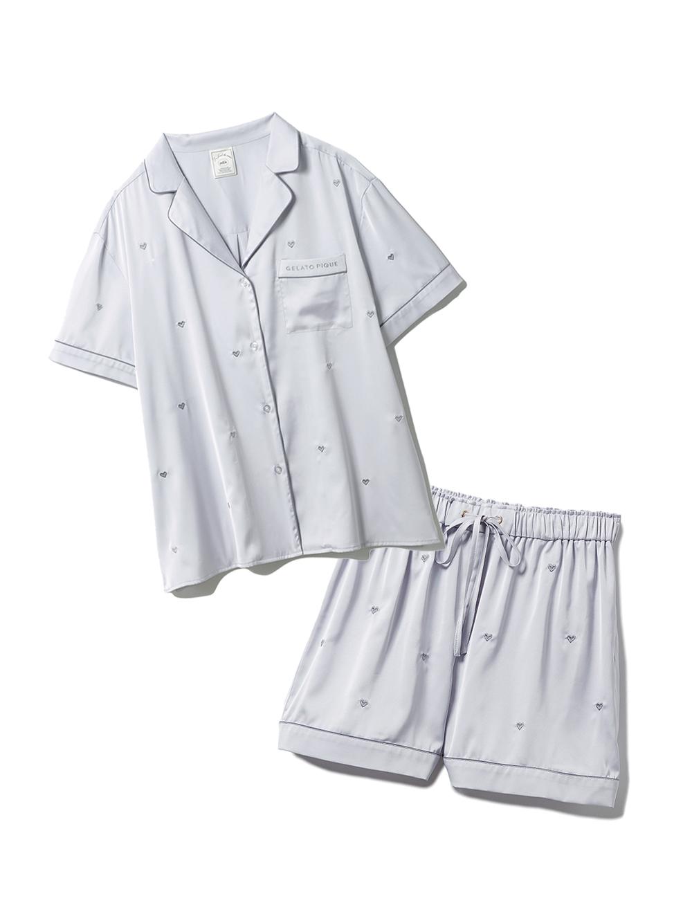 【ラッピング】ハート刺繍半袖シャツ&ショートパンツSET(LGRY-F)