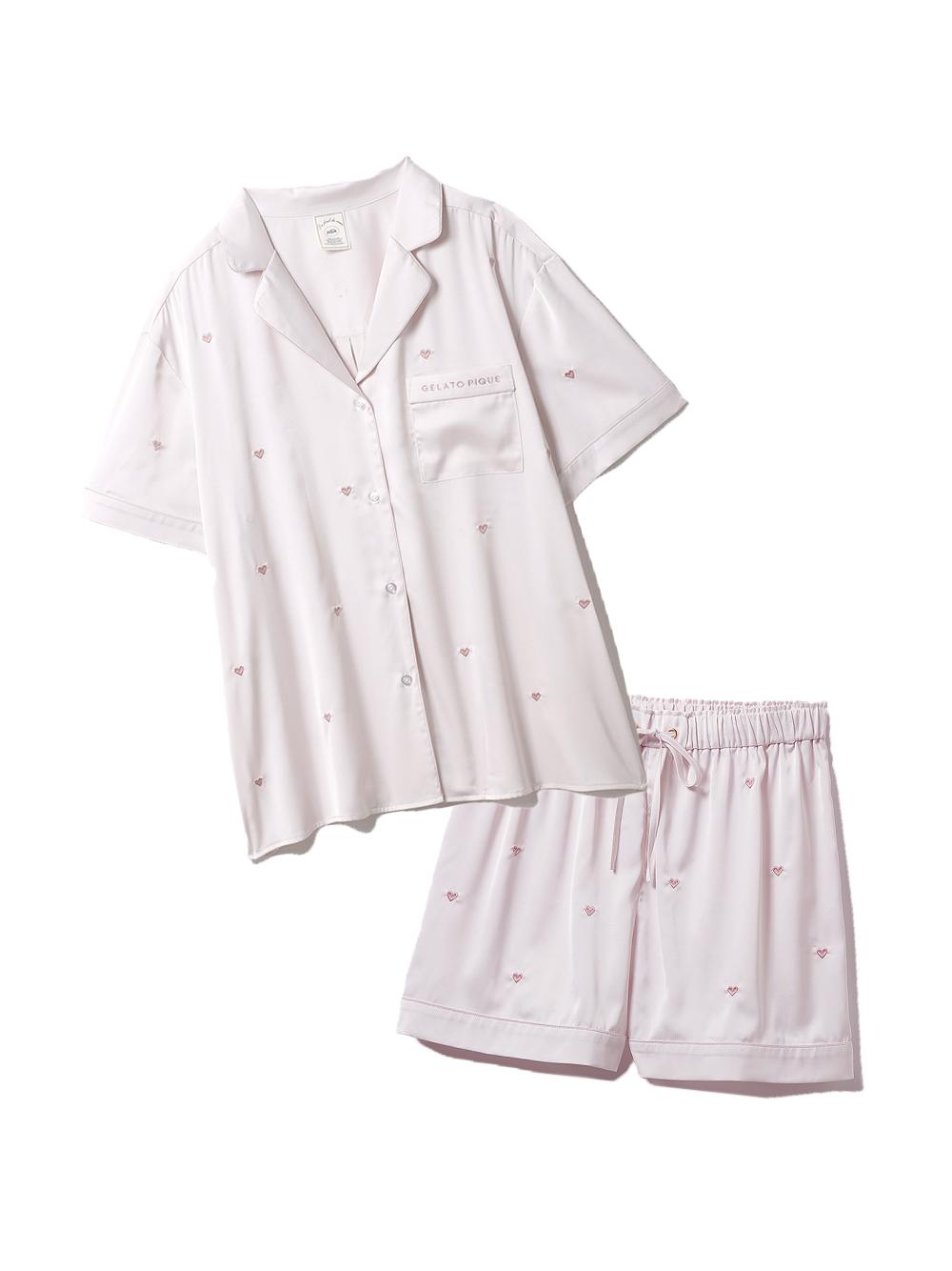 【ラッピング】ハート刺繍半袖シャツ&ショートパンツSET(PNK-F)