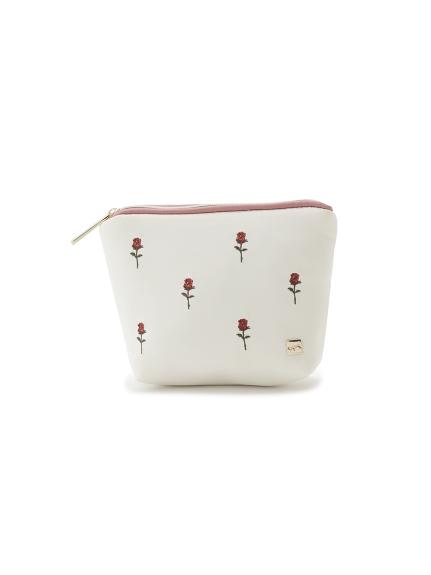 イチゴ・ローズ刺繍ティッシュポーチ