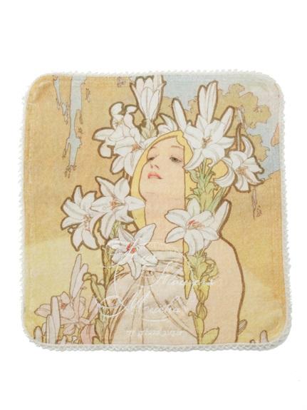 【ミュシャと四つの花】ハンドタオル(OWHT-F)